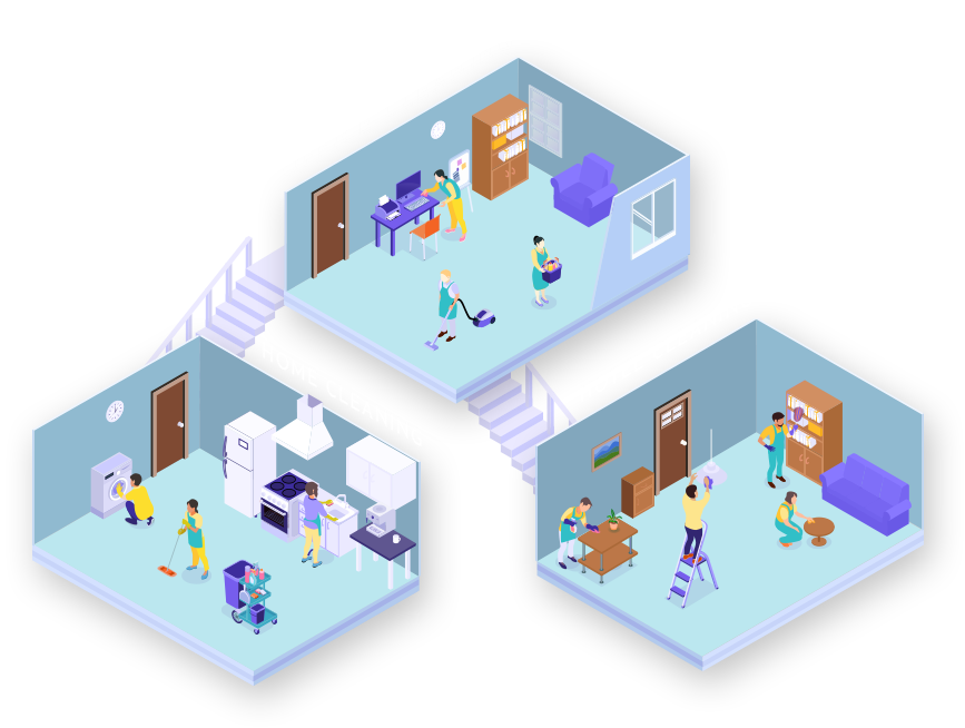 Menta cleaning agency illustration